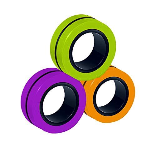 Taosheng Pulsera magnética de 3 piezas con anillo mágico, herramienta de descompresión, anillo magnético de descompresión (color G