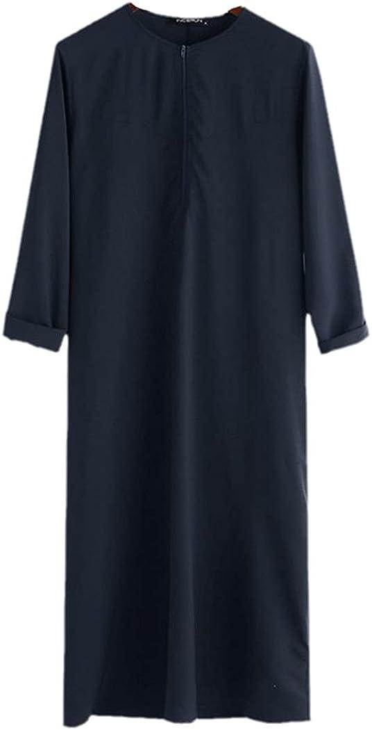 KEHAIEN Men Muslim Arabic Kaftan, Islamic Long Sleeve Abaya Robes, Solid Color Saudi Arabia Dress Jubba Thobe