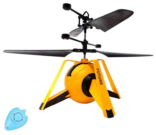 RC Drohne Y UFO Quadrocopter Hubschrauber mit Sensorsteuerung (Gelb) Einfach zu Steuern per Handbewegung Gestiksteuerung Inklusive IR Fernbedienung Drone Helicopter Neuheit 2020 Drohne für Kinder