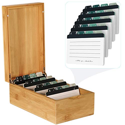 MaxGear Business Card Holder 3x5 inches Index Cards Organizer Box Desktop Card File Note Card Holders for Rolodex Wood Organizers, Bamboo, 4 Divider Boards for 600 Cards, A-Z Tabs, 10 x 5.8 x 4 inches