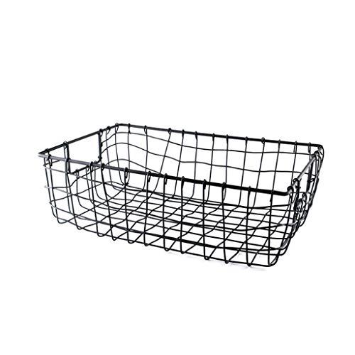 Goquik draad mesh smeedijzer dagelijkse opslag mand tuin mand opslag ijzer mand voortreffelijk, zwart