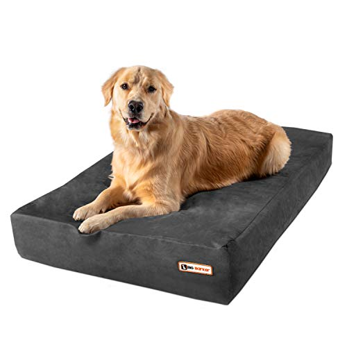Big Barker 7' Pillow Top Orthopedic Dog Bed for Large and Extra Large Breed Dogs (Sleek Edition) (Large (48 x 30 x 7), Charcoal Gray)