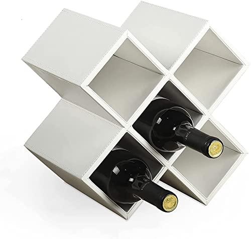 Estante para vinos, madera vintage, estante para vinos de encimera de 8 botellas, expositor de vinos, estante para vinos, soporte para almacenamiento de vino, soporte para vino de MDF blanco, sop