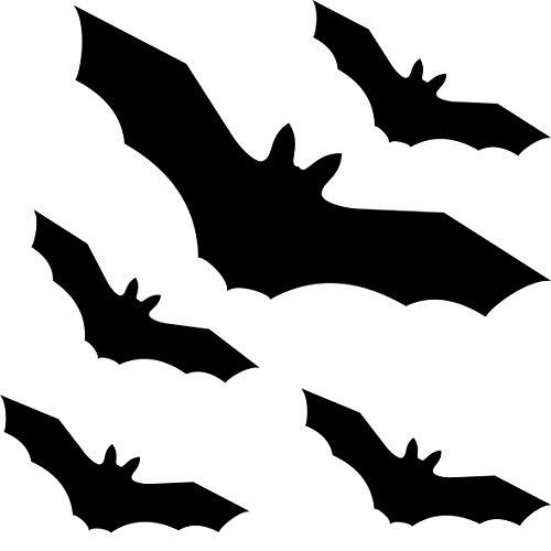 GreenIT Fledermaus Vampir Set schwarz Vogel Vögel Fenster Schutz Aufkleber Tattoo Warnvögel Deko Folie