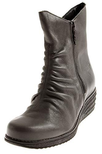 Loints 69672 Damen Elegante Kurze Lederstiefel Lederschuhe Stiefel Damenstiefel Einlagen Grau EU 37