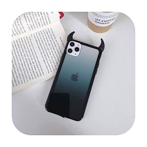 Colorido Bumper Teléfono Caso Para iPhone 11 Pro Max Coque Lindo 3D Diablo Cuerno Gradiente Cubierta Trasera Para iPhone 6S 7 8 Plus xsmax xr x -3D Diablo Negro-Para iPhone 11