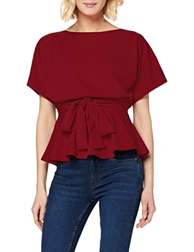 New Look Go Batwing Belted Top Camicia, Borgogna Scura, 8 Donna