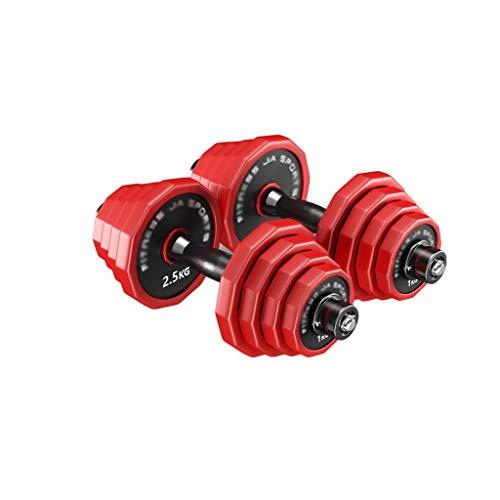 SFF Pesas Mancuernas Aptitud Antideslizante Pesas Pesas Barra Conjunto de Neopreno con Mancuernas de Home Gym Equipment Entrenamiento de Fuerza Aptitud Física (Color : Red, Total Weight : 30kg/66lb)