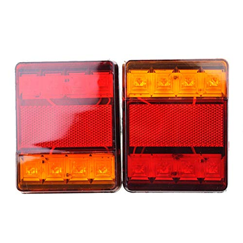 Preisvergleich Produktbild Sunnyflowk 1 Paar Auto Doppel Farben LED Rücklicht Warnsignal Lichter 8LED 12V Traffic Beacon Lights (schwarz (12V))