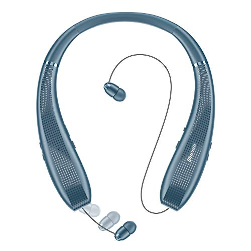 Bluenin BlueWings Pro 1 Bluetooth Headphones, Bluetooth 5.0 Neckband Wireless Headphones ANC Noise Cancelling Headset with Carrying Case, Retractable Earbuds Stereo Earphones.(Navy Blue)