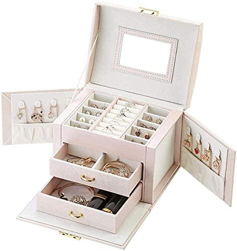 Caja de joyería collar anillo organizador de almacenamiento de cuero sintético gabinete grande joya caja de regalo caja de joyería