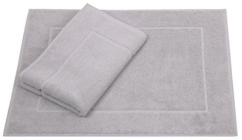 Betz 2 Unidades alfombras de baño tamaño 50x70cm 100% Algodon alfombriila baño Serie Premium Calidad 650 g/m² Disponible en 10 Colores Color Gris Plata