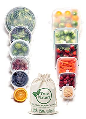 True Nature Silicone Stretch Food Covers 12-Pack - 100% Platinum Food Grade Silicone, BPA-Free - Flexible, Reusable, Durable & Expandable - Sustainable Bowl Lids/Microwave, Oven & Dishwasher Safe