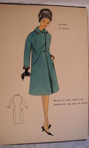 FIGURIN ORIGINAL ACUARELADO - Original watercolor design costume - N. RICCI : Abrigo en paño verde azul guarnecido con piel de visón