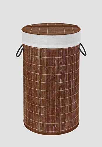 WENKO Praktische Wäschetruhe mit Deckel in moderner Bambus-Optik