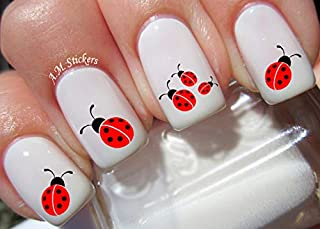 Ladybug Water Nail Art Transfers Stickers Decals - Set of 62