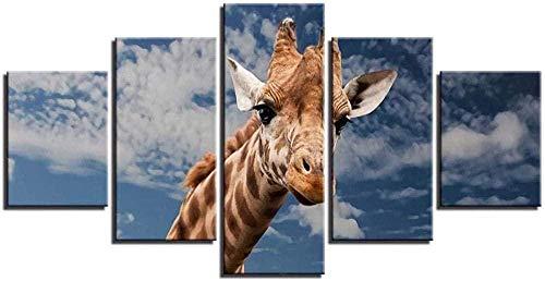 NC99 5 Pinturas consecutivas 5 Piezas de decoración Moderna para el hogar Cuadros modulares para la Sala de Estar Jirafa Animales Arte de la Pared Posters HD Impresión en Lienzo Pinturas