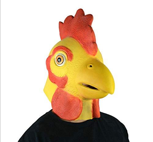 Festa di halloween della maschera del gallo della maschera del lattice di verde del cappuccio del fumetto della testa del pollo animale