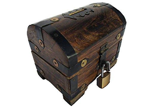 Holzspielzeug-.Tom SBKS Spartruhe Spardose mit Schloss aus Holz Schatzkiste Schatztruhe Sparkasse Sparschwein Sparbox