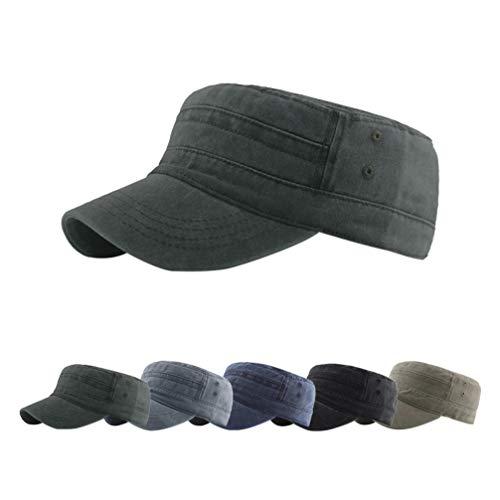 Yutdeng Cappello Uomo Visiera Piatta Unisex Cappello Militare Classico Cappello Cotone Flat Top Cappellini da Baseball