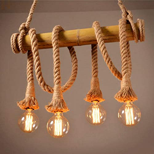 OMGPFR Canapa kroonluchter, bamboe, hanglamp voor eetkamer, retro vintage, E27, kroonluchter, Cafetteria industriële hanglamp