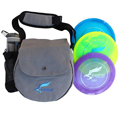 Kestrel Discs Golf Pro Set | 3 Disc Pro Pack Bundle + Bag | Disc Golf Set | Includes Distance Driver, Mid-Range and Putter | Small Disc Golf Bag (Gray)