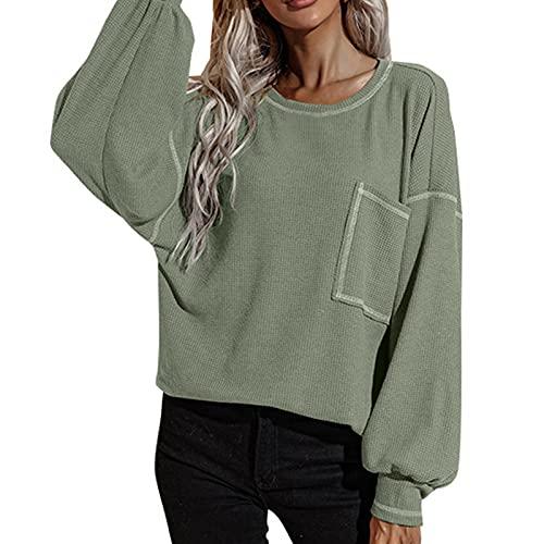 Lalaluka Sudadera de mujer monocolor, con bolsillos, cuello redondo, a cuadros, manga larga, tops con capucha, camiseta de manga larga, verde, L