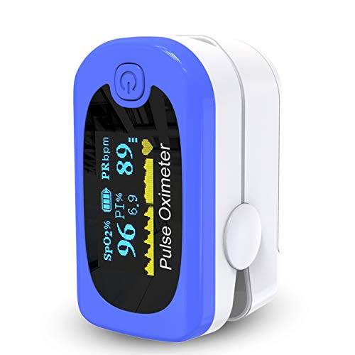 Oximeter, Pulsoximeter- Finger Sauerstoffsättigungs Messgerät und Pulsmesser - Fingerpulsoximeter mit Fingersensor und Fingerclip