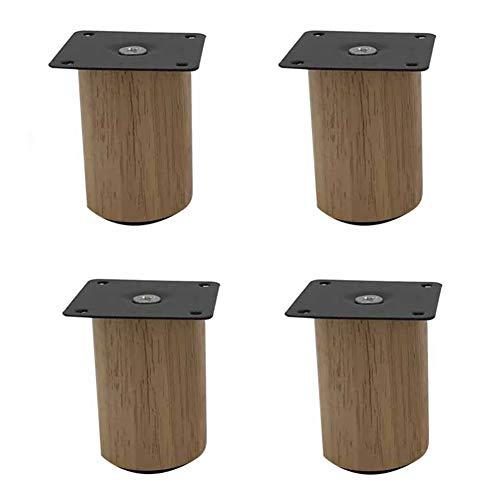 KMILE Massivholz-Möbelbeine,Ersatz Sofa Couch Stuhl Couchtisch Schrank Möbel Holzbeine,Stützbeine,Möbelersatzfüße,Gummi Holz Sofa Beine,Holzbeine für Möbel, 4er-Set
