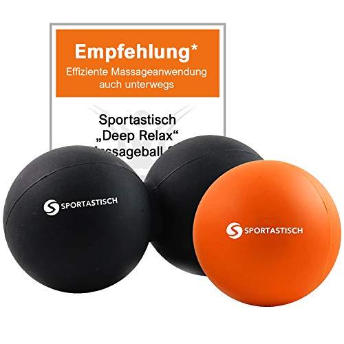 "Sportastisch Duo Massageball Faszienball 2er Set ""Deep Relax"" mit Testsiegel* Selbstmassage Faszientraining mit Duoball Lacrosse Ball für Hand Fuß Rücken, E-Poster & biszu 3 Jahren Garantie*"