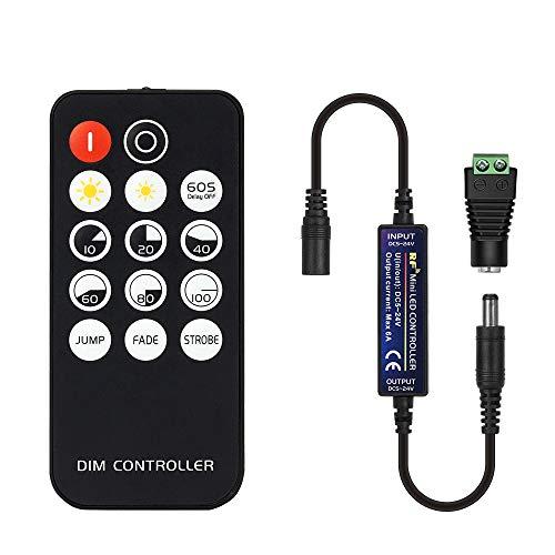 BTF-LIGHTING Mini RF Dimmer Controller 14 tasti per FCOB 3014 5630 5730 5730 3528 Strisce di LED DC5V/DC12V/DC24V LED Dimmer Switch Brightness Mode Effect Mode Wireless LED Controller (singolo colore)