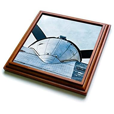 3dRose Alexis Photography - Abstracts of Aviation - Propeller and metal wing of a vintage aircraft. Stylized photo - 8x8 Trivet with 6x6 ceramic tile (trv_272033_1)