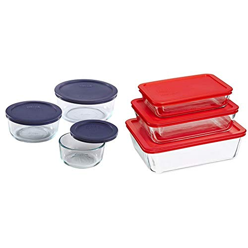 Pyrex Simply Store Meal Prep Glass Food Storage Containers (6-Piece Set, BPA Free Lids, Oven Safe) & Rectangular Food Storage, Red, (6 Pack)