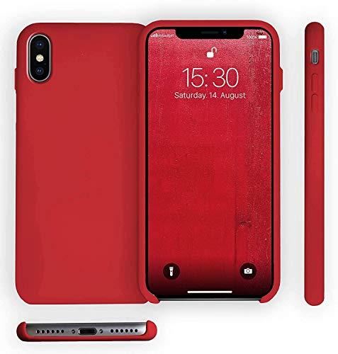 Funda de Silicona Silicone Case para iPhone XS MAX, Tacto Sedoso Suave, Carcasa Anti Golpes, Bumper, Forro de Microfibra (Rojo Persa)