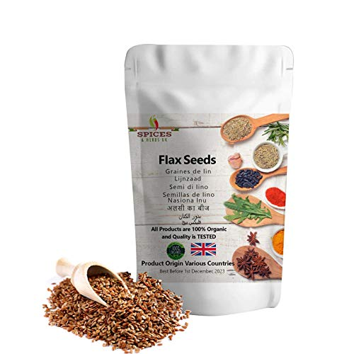 Ground Flax Seeds Linseed Premium Quality by Spices&herbsuk | High in Nutrients, Omega-3, Fiber | Perfect for Healthy Diets, Salads, Breakfast, Yoghurt and Oatmeal (100g)