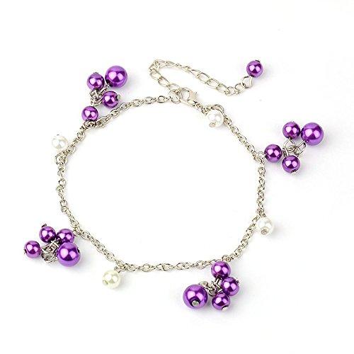 Idin Jewellery - Cavigliera regolabile in vetro viola perla