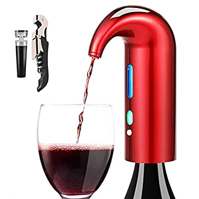 Wine Aerator Pourer, Premium Electric Aerating and Decanter Spout Multifunctional Wine Corkscrew and Beverage Bottle Stoppers