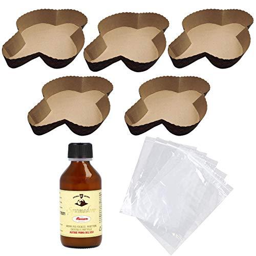 Kit Stampo per Colomba (5x750gr) + Aroma per Colombe Fraccaro (1x100 ml) + Sacchetto (5pz) - Realizza le tue Colombe Preferite direttamente in casa tua (Kit x Stampi + Aromi + Sacchetti) (5)