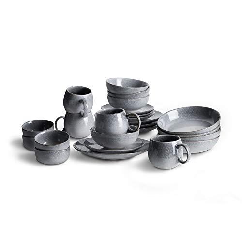 Geschirr-Set 24-tlg, Steingut Tafelservice für 4 Personen