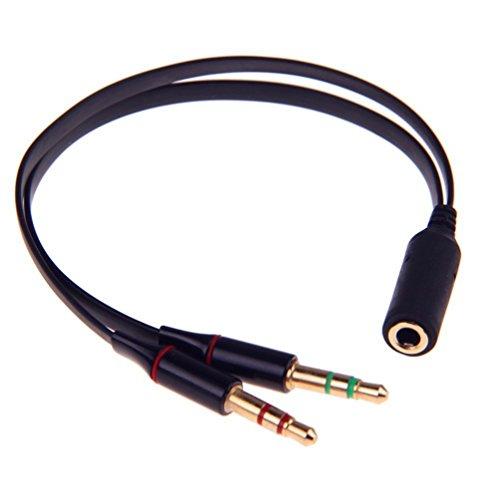 SmartEra® 3.5mm Femmina a Maschio 2 Gold Plated cuffia microfono Audio sdoppiatore cavo piatto(nero)