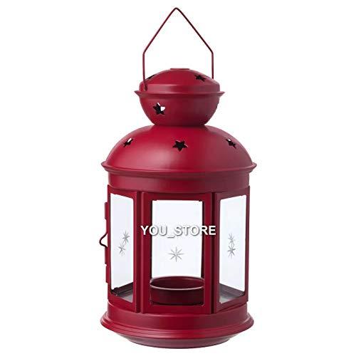 IKEA VINTERFEST - Farol para velas (21 cm), color rojo