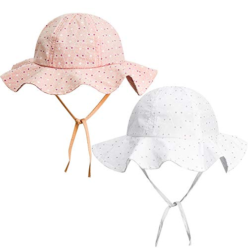 FANTESI de 2 Piezas Sombrero de Protección Solar para Bebé, UPF 50+ UV Ray Baby Summer Hat Sombrero de Protección Solar con Borde Ancho