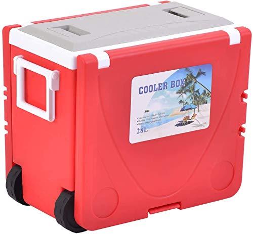 WRJY 28L Cooler Box sobre Ruedas, congelador Plegable jardín Picnic Camping Mesa Silla Conjunto portátil Plegable Pesca Silla Taburete y Mesa, Rojo