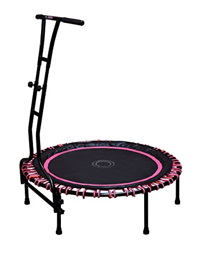 TE-Sports Indoor Outdoor Fitness Mini Trampolin 110 cm Ø 6 Standbeine Haltestange höhenverstellbar 120 kg belastbar pink