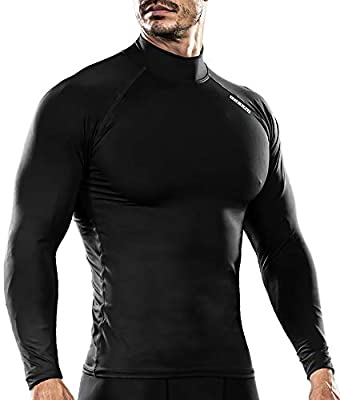 DRSKIN UV Sun Protection Long Sleeve Top Shirts Skins Tee Compression Base Layer (M, SABB01)