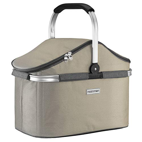 anndora Einkaufskorb 25 Liter Isolierkorb Picknick Kühlkorb - Champagner grau