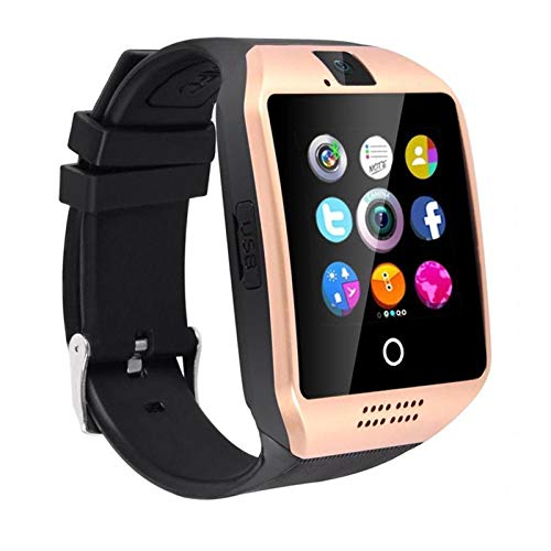 Bluetooth Smart Watch With Camera Facebook Whatsapp Twitter Sync SMS Smartwatch Support SIM TF Card For IOS Android (Color : Gold)