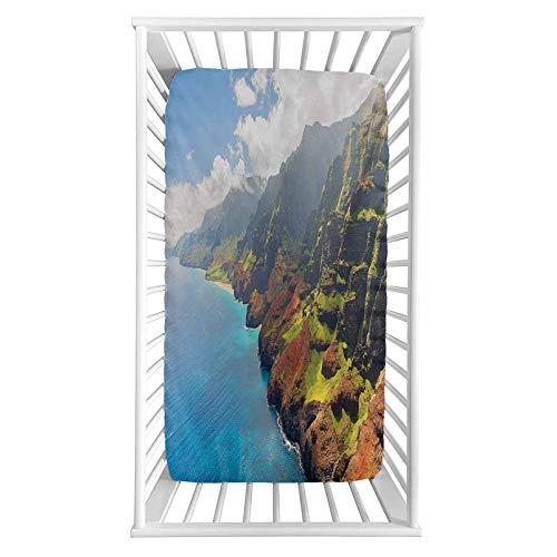 "Lyzelre Hawaiian Fitted Crib Sheet,Na Pali Coast on Kauai Island Water Sunshines Foggy Cloudscape Panorama Microfiber Silky Soft Toddler Mattress Sheet Fitted,28""x 52""x 8"
