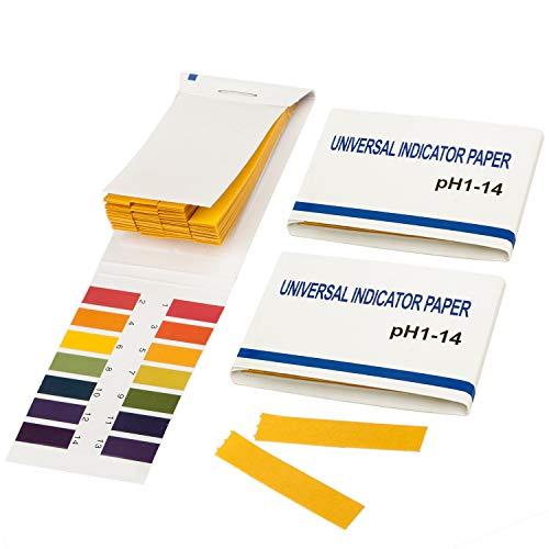 TRIXES Paquete de 2 papel de tornasol. pH 1 a 14 Libro Papel para Prueba 80 Tiras