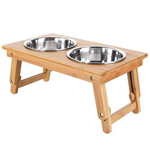 pedy Futterstation Katze Hundebar Holz Höhenverstellbar 17cm-25.6 cm Bambus Doppel-futternapf für Katze Kleine Große Mittlere Hunde 4 Schüsseln